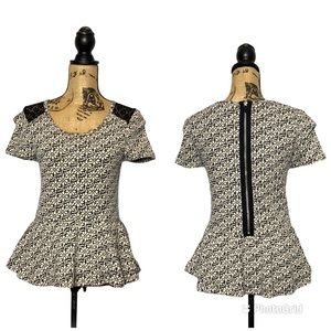 Anthro Knitted&Knotted Fit & Flare Floral Lace Top